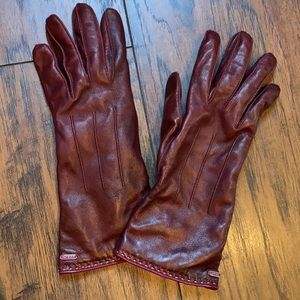 Coach Maroon Leather/Cashmere Gloves